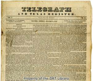 Tx Newspapers Telegraph And Register Early Newspaper