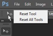 reset tool in photoshop reset tools to their default state