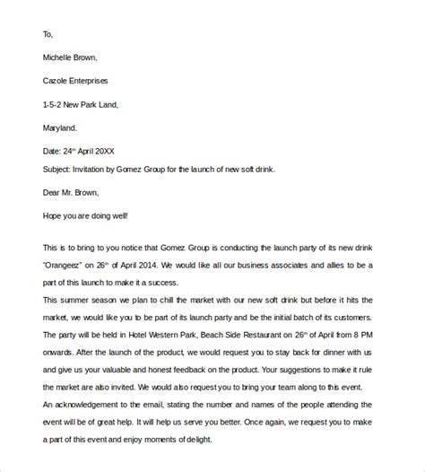 business invitation letter 9 download free documents in
