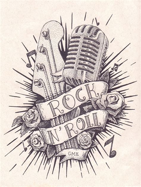 rock music tattoo designs rock n roll em pontilhismo on behance tatuideas