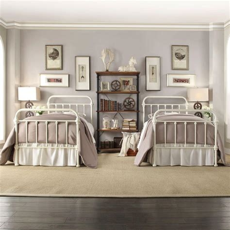 white metal twin bed homesullivan calabria white twin bed frame 40e411bt 1wbed the home depot