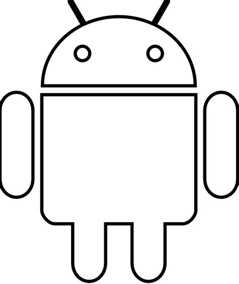 187 Android Robot Black White Line Coloring Sheet