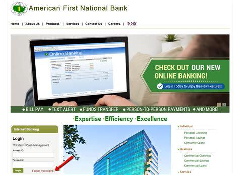 reset fnb online banking details american first national bank online banking login cc bank