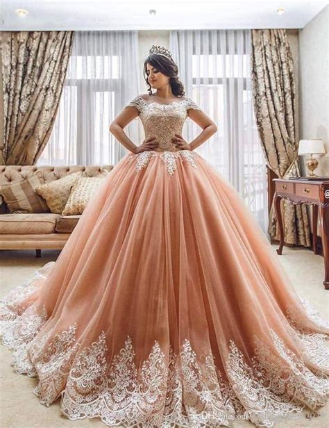 Dress Sweet Two Color Mix Import Premium Quality 2017 new quinceanera gown dresses cap sleeves blush pink white lace applique sweet 16 court