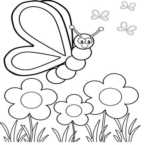 dibujo de mariposa en flores para colorear dibujos para colorear flores y mariposas