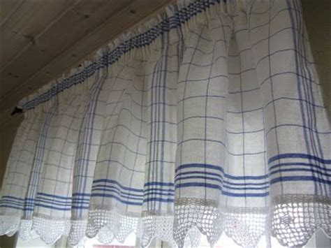 tea towel curtains kitchen curtains tea towels and crochet lace on pinterest