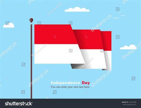 flat design indonesia banner fluttering wind on background clouds stock vector