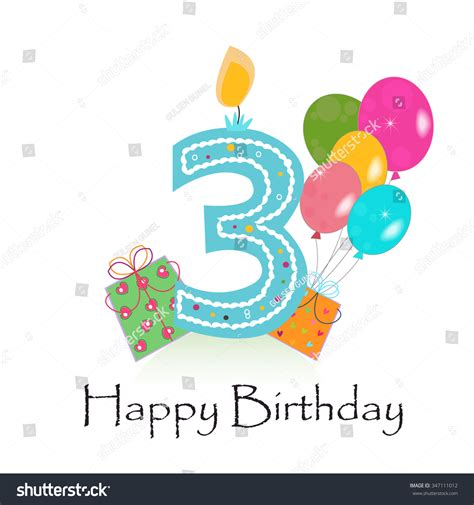 Happy 3rd Birthday Wishes To My Happy Third Birthday Card Vector Gift Stock Vector