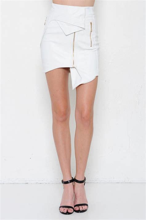 white faux leather asymmetrical pencil skirt
