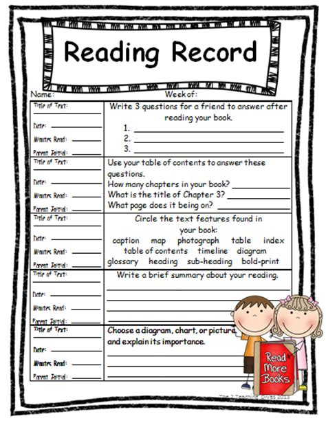 Records For Homes The 2 Teaching Divas Weekly Reading Records