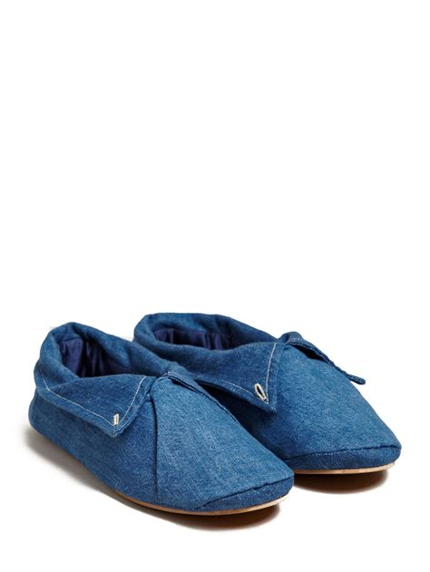 denim slippers lyst levis denim and silk slipper shoes in blue