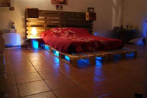 wood pallet bed frame with lights diy pallet bed with lights ideas pallets designs