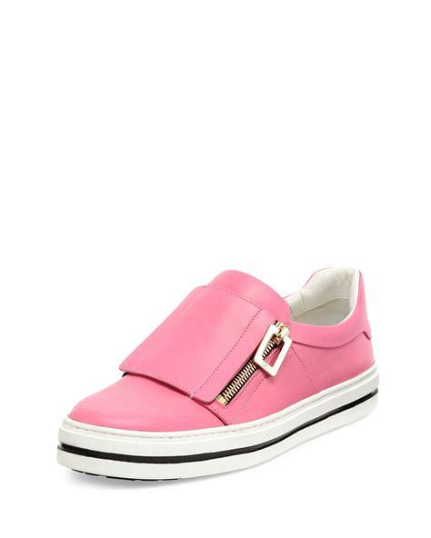 sneaker pink roger vivier leather side zip sneaker in pink lyst