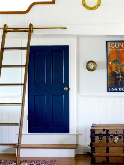 navy blue door nautical kid friendly loft landing design hgtv