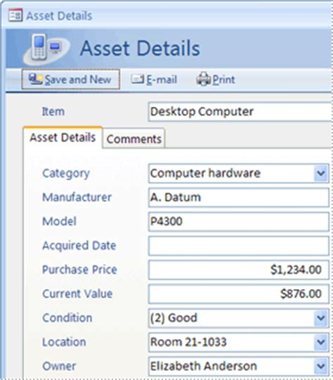 Guide To The Access 2007 Templates Access Asset Database Template Free
