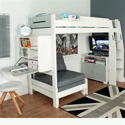 Cabin Beds With Sofa Stompa Casa 4 White High Sleeper With Sofa Bed Pull Out