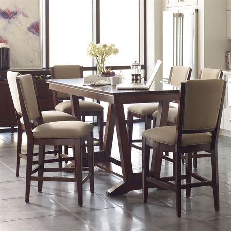 Counter Height Table And Stools Set by Seven Counter Height Dining Set With Upholstered