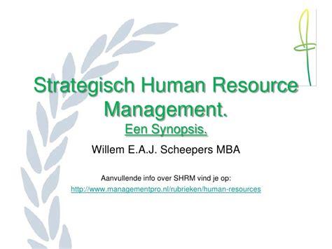 Mba Hrm Tu by Strategisch Human Resource Management 1108