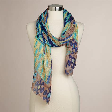 and blue ikat scarf world market