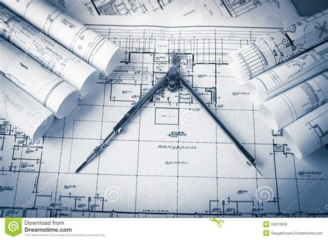 design blueprints rolls of architecture blueprints and house plans stock photo image 55610628
