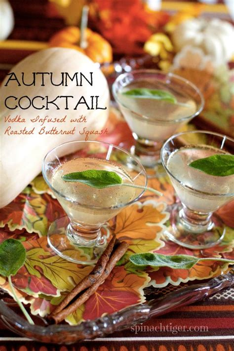 autumn cocktail with roasted butternut squash infused vodka spinach tiger