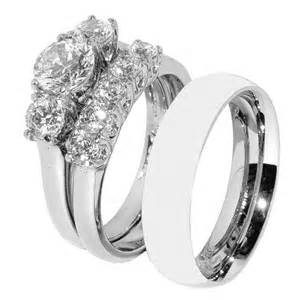 wedding ring sets and his hers 3 pcs stainless steel wedding ring set and