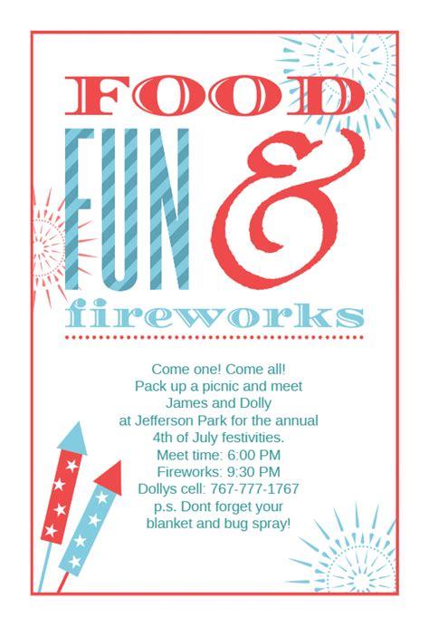 food fun  fireworks   july invitation template
