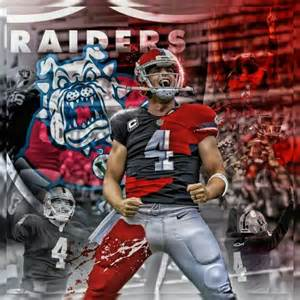 Los angeles raiders silver and black derek carr fresno state bull dogs