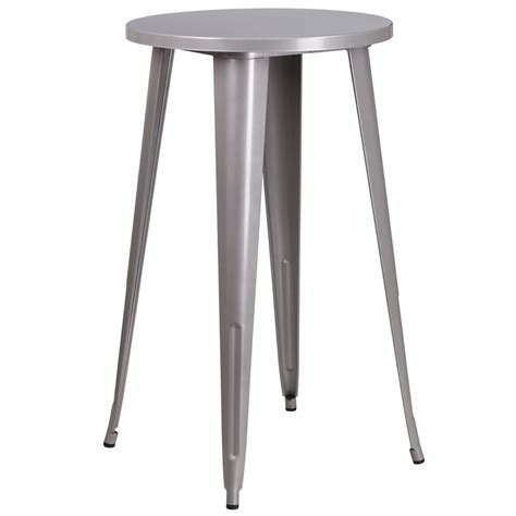 Indoor Bar Table 24 Silver Metal Indoor Outdoor Bar Height Table