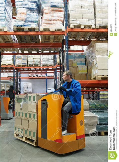 order picker loader in warehouse stock image image 14448853