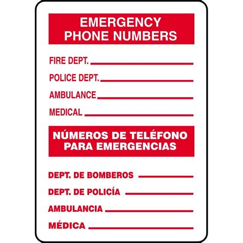 printable emergency numbers bilingual emergency phone numbers sign gempler s