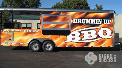 Wall Letters Stickers drummin up bbq custom concession trailer wrap signs for