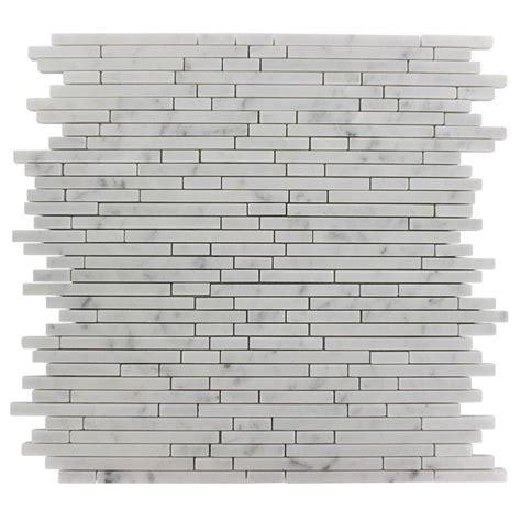 random pattern mosaic tile splashback tile windsor 1 4 in x random white carrera