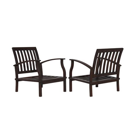 Patio Chair Set Of 2 Shop Allen Roth Gatewood 2 Count Brown Aluminum Patio Conversation Chairs At Lowes