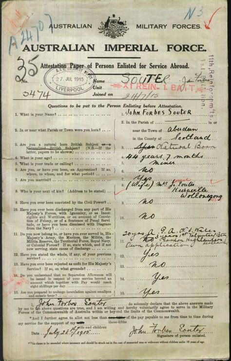Aberdeen Birth Records Souter Forbes Service Number 3474 Place Of Birth Aberdeen Scotland