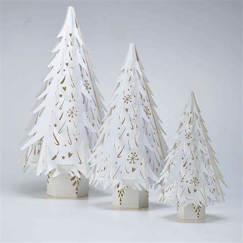 small paper christmas tree decorations in white