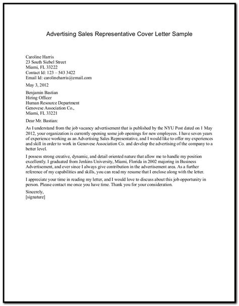 sle cover letter for resume sales representative