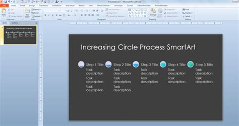 Increasing Circle Process Timeline Template For Microsoft Powerpoint 2013 Powerpoint Smartart Timeline Template