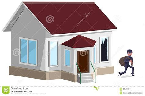 house property insurance male thief in mask robbed house property insurance stock vector image 61500994