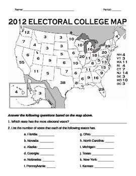 Electoral College Worksheet by Electoral College Map Worksheet By Miller Tpt