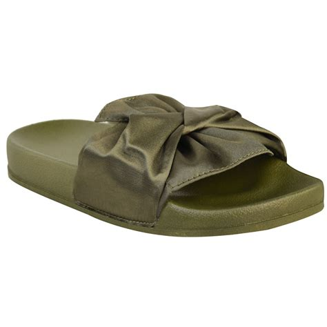 comfy sneaker slippers womens comfy bow knot sliders flats satin casual
