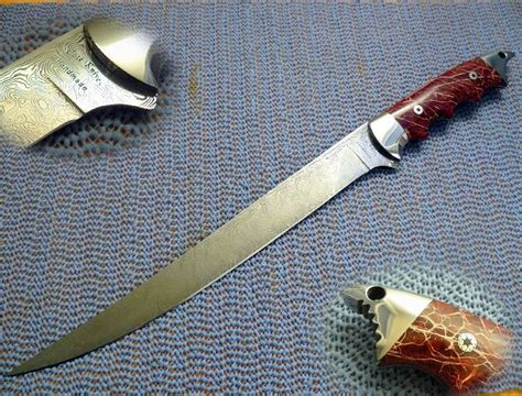 Handmade Fillet Knife - custom made damascus quot sharky quot cactus fillet knife by cote