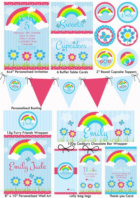 free printable rainbow party decorations 9 best images of free rainbow printable party invitations