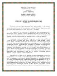 Narative Report Sample Narrative Report On Brigada Eskwela