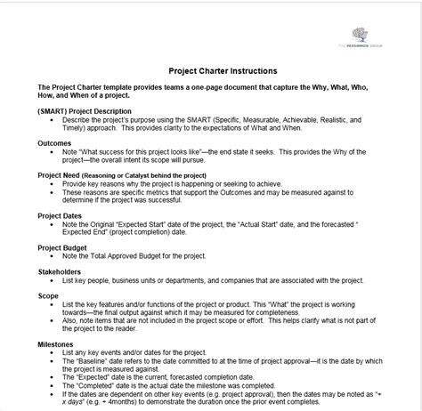 project charter template the persimmon