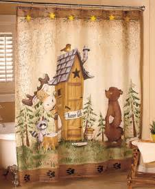 Country Bath Shower Curtain Nature Calls Shower Curtain Comical Bear Moose Outhouse