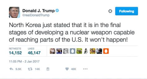 donald trump north korea tweet donald trump tells kim jong un north korea nuclear missile