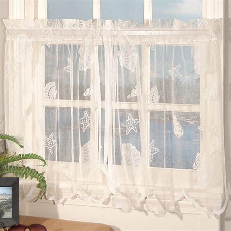 seashell lace curtains seashells lace tier window treatment