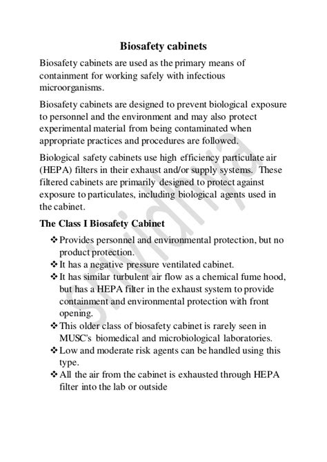 Biosafety levels and cabinets
