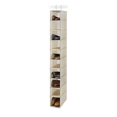 shoe organizer essential home 10 shelf tan hanging closet shoe organizer